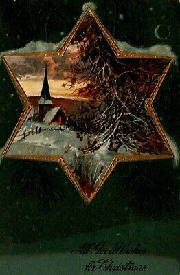 Star of David Bell Embossed Christmas Postcard