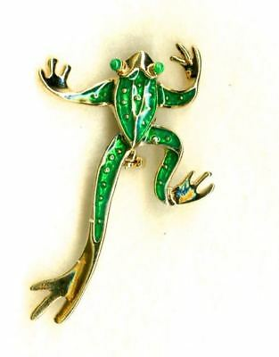 UNUSUAL Vintage Sparkling Frog Pin Legs Move as You Move! MINT!