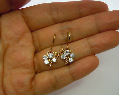 21kt solid gold hook earrings with crystal clusters 21k pure (21 out of 24k)