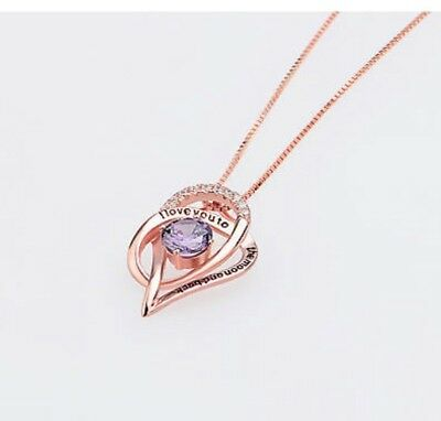 "Sterling Silver Rose Gold Heart Necklace 18"" I Love You to the Moon and Back"