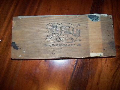Antique APOLLO Wooden Box with 14 CLEAR GLASS SALT DIP CELLARS New York
