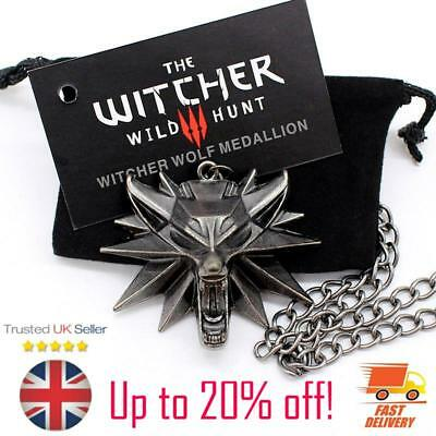 Witcher 3 Necklace Medallion Geralt Wolf Pendant Chain Card and Gift Bag Withcer