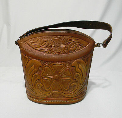 Vintage Hand Tooled Leather Bucket Purse Brown Handbag Bag Small Floral Rare Sm