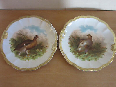 """2 Antique Victorian German hand painted Bird Quail Wall Cabinet Plates 11.25"""""""