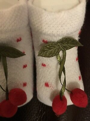 Baby Pom Pom Socks White & Red Baby Socks 3D Cherry Pom Pom Newborn