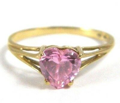Estate Solid 10K Yellow Gold SPL Pink Heart Love Gemstone Ring Gift Jewelry VTG