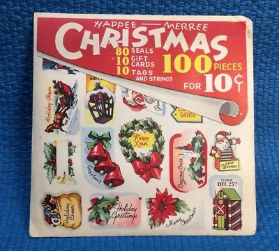 Vintage Christmas Present Seals, Gift Cards, Tags & Strings 1940s NIP