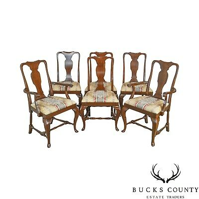 Queen Anne Style Quality Set of 6 Cherry Dining Chairs