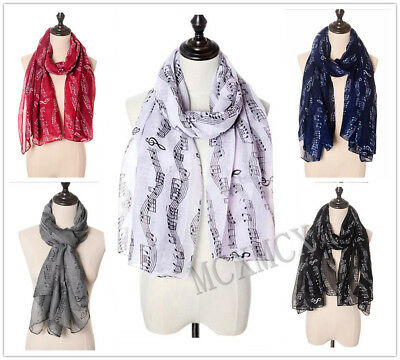 Women Ladies Fashion Long Pretty Music Musical Notes Print Pattern Scarf Stole