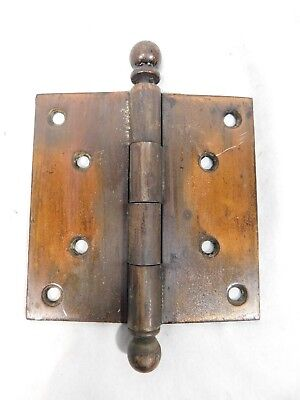 """1890's Antique DOOR HINGES 4"""" x 4"""" Ball Top VICTORIAN Style Copper/Black ORNATE"""
