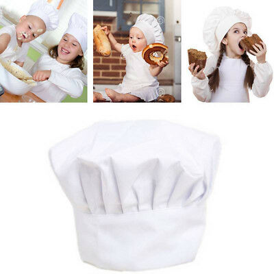 Kids White Chef Hat Elastic For Party Kitchen Baking Cooking Costume Cap Gift