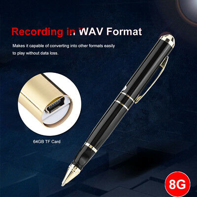 8GB Hidden Spy Audio Voice Activated Recorder Pen USB Mini Portable Rechargeable