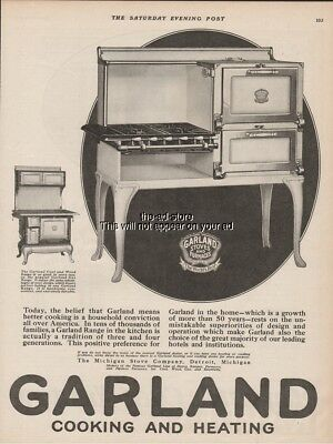 1923 Garland Cast Iron Cooking Range Wood Coal Gas Michigan Stove Co Detroit Ad