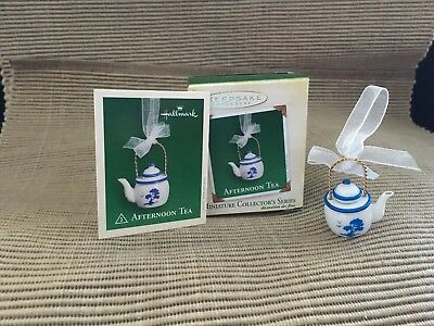 New Hallmark Miniature Ornament Afternoon Tea Teapot Porcelain Series #3 2005