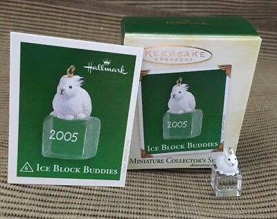 New Hallmark Miniature Ornament Ice Block Buddies Bunny Rabbit Series #6 2005