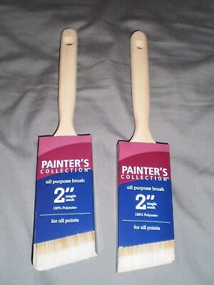 """pair/lot of 2 Painter's Collection 2"""" angle sash all purpose paint brushes wood"""