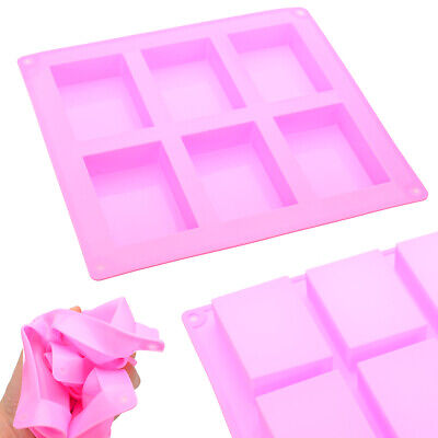 US 6-Cavity Rectangle Soap Mold Silicone Craft DIY Making Homemade Cake Mould