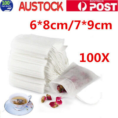 100 pcs Empty Teabags String Heat Seal Filter Paper Herb Loose Tea Bags White AU
