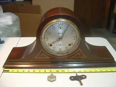 """Antique Sessions Westminster Chime Tambour Mantel Clock, Time Side Works """"as is"""""""