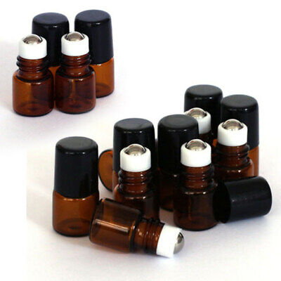 20x 1ml Amber Glass Roll On Roller Ball Empty Bottles Perfume Essential Oil USA