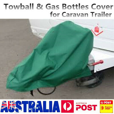 AU Green A Frame Caravan Trailer Cover to cover Towball & Gas Bottles Large