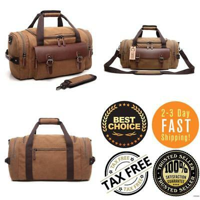 Crosslandy Canvas Gym Bag For Men Women Leather Overnight Travel Carry On  Duffel 21a8492e77d25