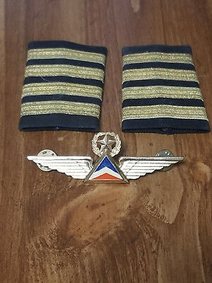 Authentic 1980s Delta Pilot Captain Wings and epaulettes FREE ship continent US