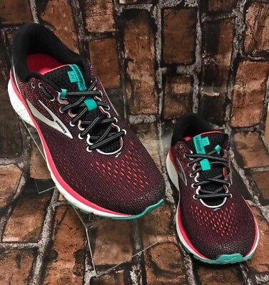 Brooks Women's Ghost 11 Black/Pink/Aqua Athletic Running Shoes Size 11 D Wide