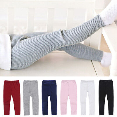 Toddler Baby Girls Kids Pants Leggings Soft Knit Stretchy Trousers Bottoms Pants