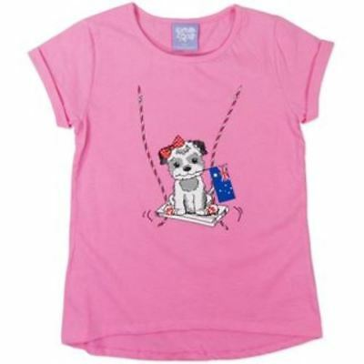 BNWT Girls Pink Tshirt with printed Dog picture Size 1