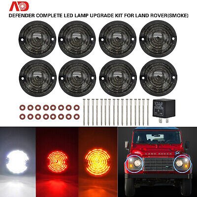 FOR LAND ROVER Defender 90 110 1983- Smoked Complete LED Lamp