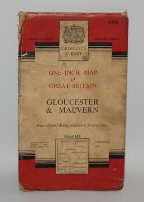 Ordnance Survey One Inch Cloth Map - Gloucester & Malvern - Sheet 143 - 1953