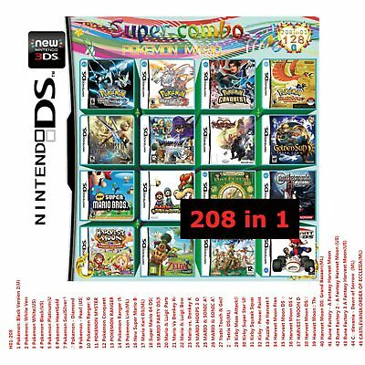 New 208 Games in 1 Game Cartridge Multicart For Nintendo DS NDSL NDSI 2DS Series