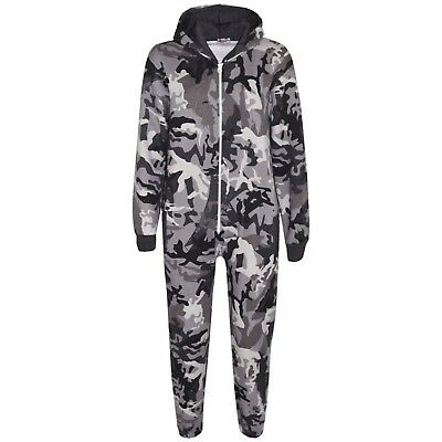 Girls Boys Fleece Camouflage Charcoal A2Z Onesie One Piece All In One Jumpsuit