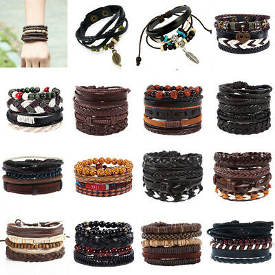 Fashion Men Women Handmade Multilayer Leather Bracelet Braided Bangle Wristband