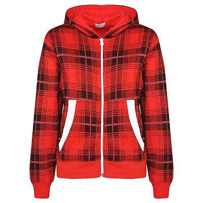 Kids Girls Boys Red Tartan Print Fleece Jacket Zipped Top Hooded Hoodie 5-13 Yr