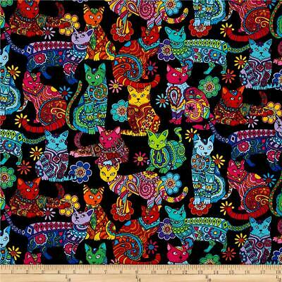 Timeless Treasures  Colourful Cats Colour Me Quilt Quilting Fabric Animals FQ