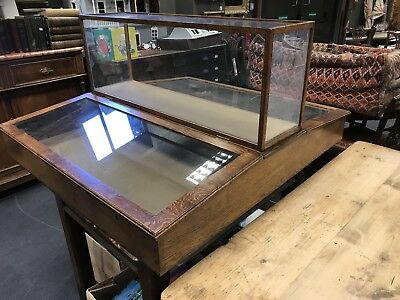 Rare Victorian Museum/Shop Oak Table Or Counter Top Display Cabinet