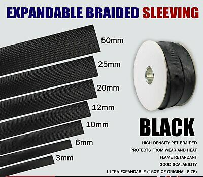 3:1 Heat Shrink Tubing Waterproof+Expandable Braided Cable Wire Protection Black