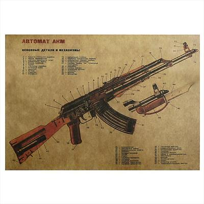 Retro AK47 Art Gun Assault Rifle Structure Chart Kraft Poster Wall Sticker Decor