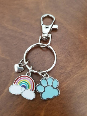 Pet Memorial Key Chain Dog Cat Paw Print Rainbow Bridge Heart Charm Bag Dangle