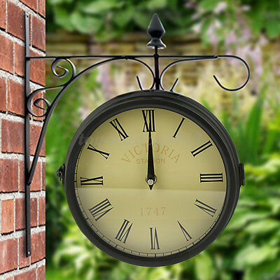 Uk Garden Wall Clock Modern Thermometer Double Side Retro Outdoor Patio Ornament