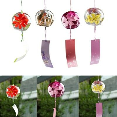 1x Japanese Style Glass Windchime Blessing Bell Room Hanging Furin Wind WET