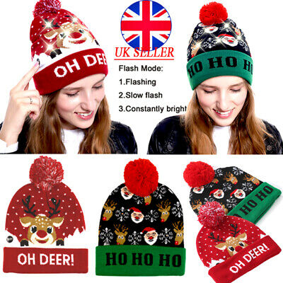 2PCS Mens Womens Winter Warm Beanie Hat Knitted Cap with led light Woolly Ladies