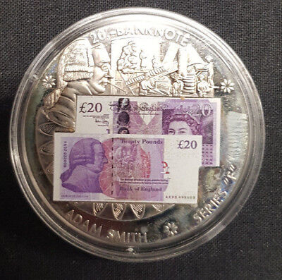 """2011 £20 ADAM SMITH COIN - Silver Plated Banknote Series """"F"""" - VG"""