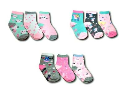 Baby Toddler Girls ABS Cotton Blend Anti Non Slip Socks 3 Pairs Size 9-24Months