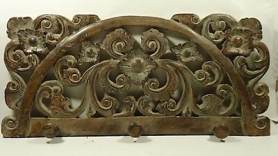 Carved Dark Wood Look Antique Wash Finish Wall Hanging Coat Rack Pre-Owned