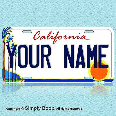 California Palm Trees YOUR NAME Personalized Text Aluminum License Plate Cool!