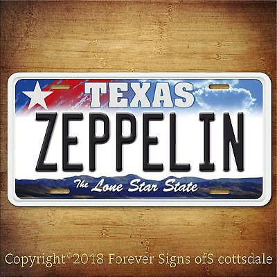 Led Zeppelin Rock And Roll Pennsylvania Aluminum Vanity License Plate Blue