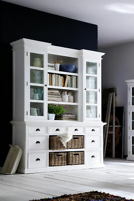 Nova Solo Halifax White Mahogany Solid Wood - Library Storage Hutch with Baskets